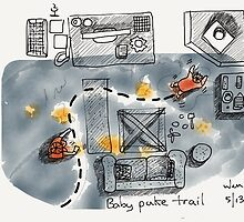 Baby puke trail by littlearty