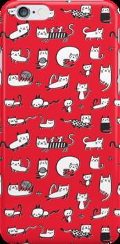 Red Kitties by HappyDoodleLand