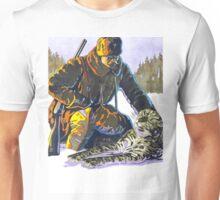 Soldier Petting a Snow Leopard Unisex T-Shirt