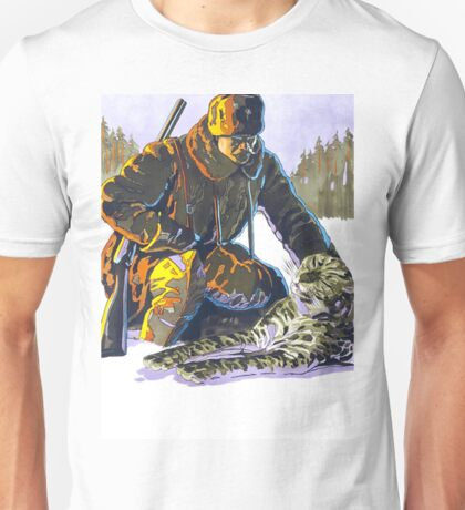 Soldier Petting a Snow Leopard Unisex T-Shirt