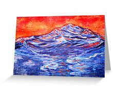 landscape in red and blue Greeting Card