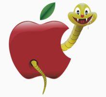 Apple and worm by Ümit ÖZKANLI