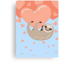 Hanging from your Heart Sloth Canvas Print