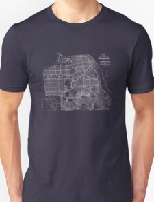 san francisco vintage map 1920 T-Shirt