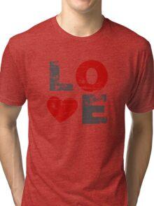 Love Heart Distressed Valentines Day Tri-blend T-Shirt