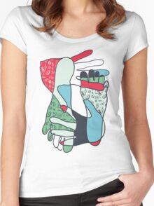colorful foot and hand Women's Fitted Scoop T-Shirt