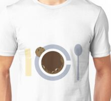 image of a cup of coffee, sugar, spoons and cookies Unisex T-Shirt