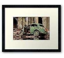 car and ruins Framed Print