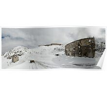 BMW R75 on top of the Tende Pass in winter Poster
