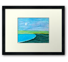 Moon over the Pacific Framed Print