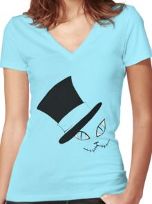Cheshire Cat in the Hat Women's Fitted V-Neck T-Shirt
