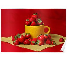 Strawberries in a sunny cup Poster