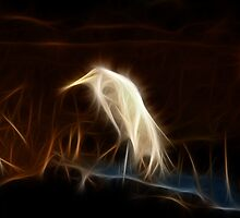 Ghostly Great Egret: Fractalius by Cherubtree