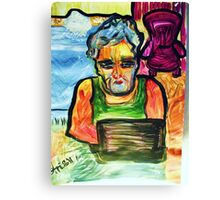 SOLITUDE - acrylic, tempera, paper 18 x 24'' Canvas Print