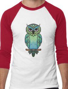 Watercolor Owl Blue and Green Men's Baseball ¾ T-Shirt