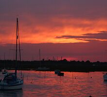 Sunset over Leigh on Sea by Sandra Caven