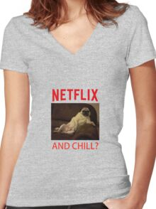 Netflix & Chill Women's Fitted V-Neck T-Shirt
