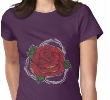 Rose in Red N Gold Womens Fitted T-Shirt