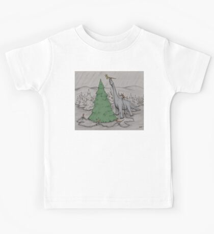 Dinosaurs Trimming the Tree - Colored Kids Tee