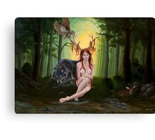 Antlered Mother Nature Woman with Wolf in Forest Canvas Print