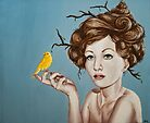 Girl with Nest Hair and Canary by plantiebee