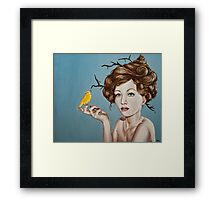 Girl with Nest Hair and Canary Framed Print