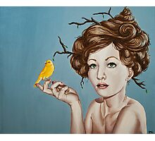 Girl with Nest Hair and Canary Photographic Print