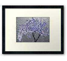 purple tree in a storm with silver background- relaxing zen image Framed Print