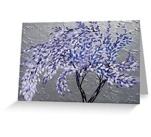 purple tree in a storm with silver background- relaxing zen image Greeting Card