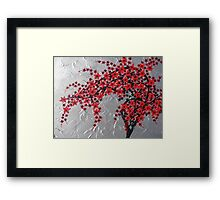 Red and black tree with silver background -zen blossom design Framed Print