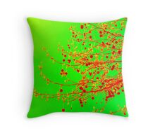 Christmas and all occasion cards and prints- lime green and red with orange Throw Pillow