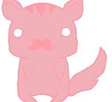 Pink Mustache Kitty by Jessie Almond