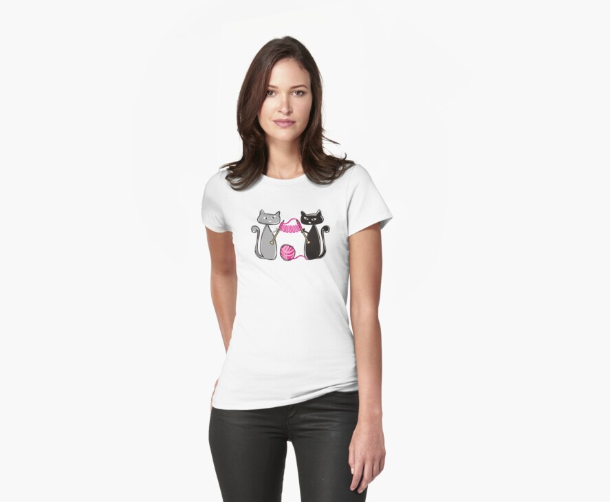 Knitting needles cats with yarn t-shirt by BigMRanch