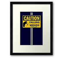 Caution: Falling Wizard Framed Print