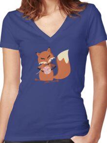 Cute fox knitting needles fluffy yarn t-shirt Women's Fitted V-Neck T-Shirt
