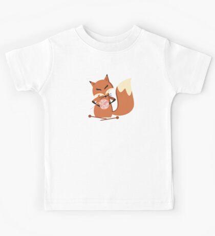 Cute fox knitting needles fluffy yarn t-shirt Kids Tee