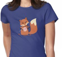 Cute fox knitting needles fluffy yarn t-shirt Womens Fitted T-Shirt