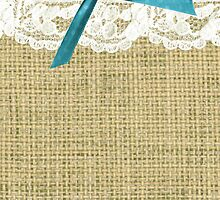girly burlap and lace with blue bow by hellohappy