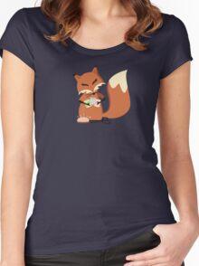 Cute fox seamstress sewing thread scissors Women's Fitted Scoop T-Shirt