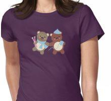 Cute kawaii bears knitting needles yarn t-shirt Womens Fitted T-Shirt