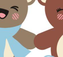 Cute kawaii bears knitting needles yarn t-shirt Sticker