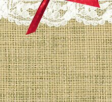 girly burlap and lace with pink bow by hellohappy