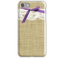 girly burlap and lace with purple bow iPhone Case/Skin