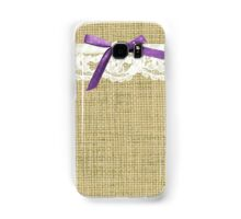 girly burlap and lace with purple bow Samsung Galaxy Case/Skin