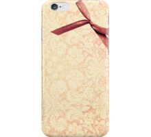 girly pink peach damask with bow iPhone Case/Skin