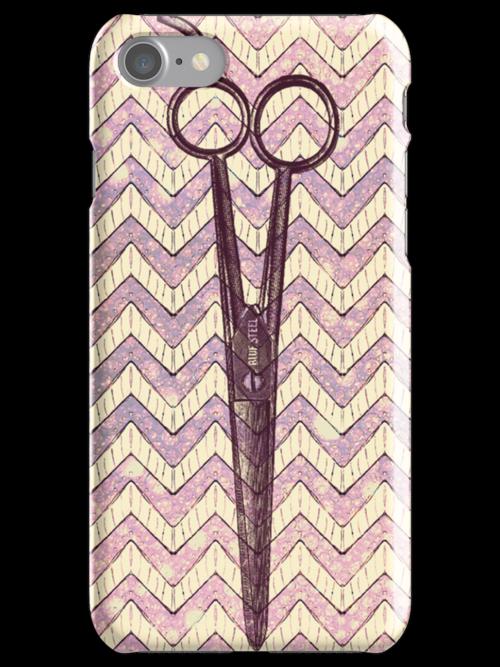 hair stylist scissors shears grunge galaxy pink chevron stripes by hellohappy