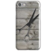 wood grain hair stylist scissors shears iPhone Case/Skin
