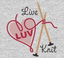 live love knit knitting needles heart yarn One Piece - Short Sleeve