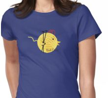 knitting needles knit chick ball of yarn Womens Fitted T-Shirt
