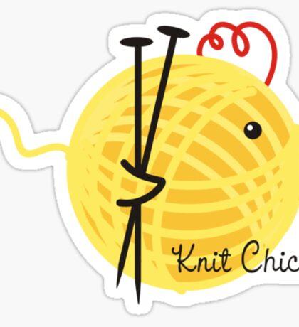 knitting needles knit chick ball of yarn Sticker
